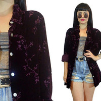 vintage 90s plum velvet burnout duster jacket 1990s sheer floral burnout oversized shirt slouchy top blouse burgundy wine soft grunge large