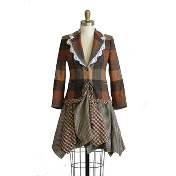 Forest Mori Girl Blazer, Upcycled Clothing, Wool Jacket in Browns Oranges Greys Yellows, Recycled Repurposed, Extra Small XS, Small