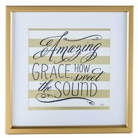 Gold & White Striped Amazing Grace Framed Wall Art | Shop Hobby Lobby