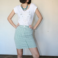 "Stripes midi skirt Navy punk skirt Spring colors Green skirt 90""s (S)"
