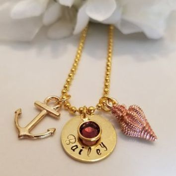 Gold Nautical Theme Necklace with Hand Stamped charm Anchor and Shell Nautical