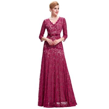 Long Sleeve Dress Lace Evening Dresses Sexy Red Blue Black Evening Formal Gowns Mother of the Bride Dresses