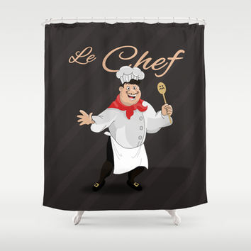 Le Chef Kitchen decor French chef with a mustache cartoon character illustration Shower Curtain by Bad English Cat
