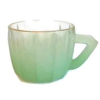 50s Mint Blendo Frosted Green Glass Cup, Punch Bowl Cup Mug, Juice Glass Dish, Collectible Housewares, Mid Century Dining Entertaining