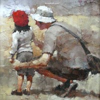 Andre Kohn Dad's Girl, Sunday At The Zoo [Andre Kohn_A7172] - $99.00 oil painting for sale|Wonderful artwork|Buy it at once.
