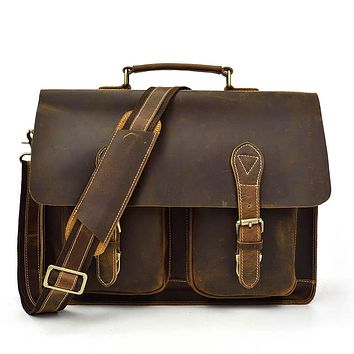 Men Genuine Leather briefcase Big Laptop Thick Cowhide Business bag Cow leather messenger Shoulder bag Lady work bag