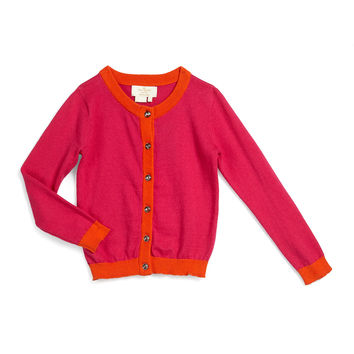 contrast-trim sofia button-front cardigan, sweetheart pink, size s-xl, Size: