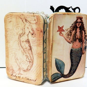 Altered Doll Art The Mermaid Altoids Tin Art Frozen Charlotte Bisque Doll Vintage Jewelry Beads