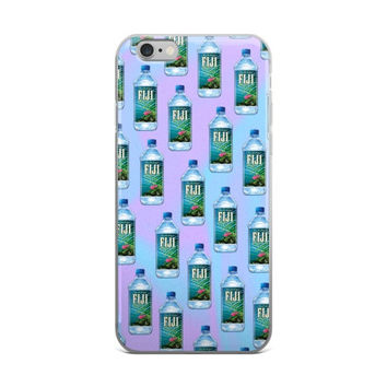 Fiji Water Bottle Collage Vaporwave Blue iPhone 4 4s 5 5s 5C 6 6s 6 Plus 6s Plus 7 & 7 Plus Case