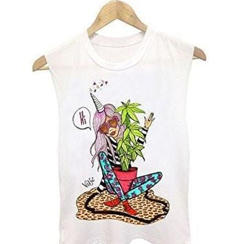 Womens - Girl Hippy / Fashionista and Pot Plant on a White Tank Top ( Runs Small)