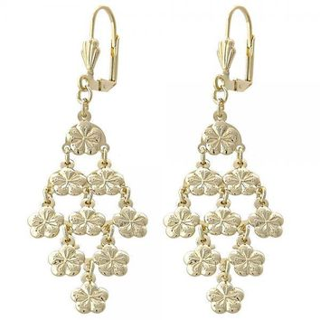 Gold Layered 02.63.2217 Chandelier Earring, Flower Design, Diamond Cutting Finish, Gold Tone