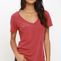 Z Supply Pleasant Surprise Washed Red Tee