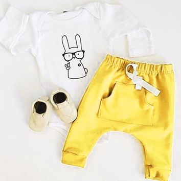 PUSEKY Cute Baby Infant Boys Girls Clothes Sets Chic Pattern Of Endearing Cartoon Rabbit Romper+Pocket Pants Birthday Outfits