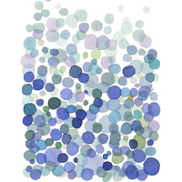 Art print Bubbles Classic blue dots watercolor painting watercolor print abstract painting