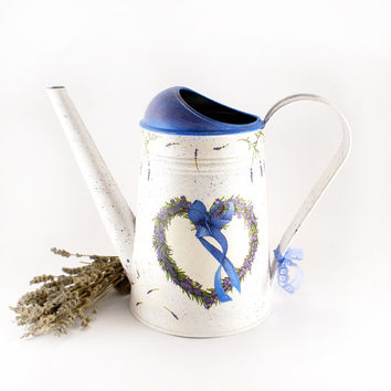 Lavender Heart Watering Can, white, blue, lavender, vintage look decoupage,rusric, Shabby Chic, gift for mom,Provence style home