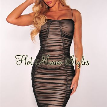 Black Ruched Mesh Nude Illusion Spaghetti Straps Midi Dress