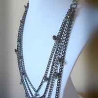 Multi-tiered vintage glass and aluminum necklace, Goth Necklace, Glamorous Jewelry, Womens Necklace, Black, Gun Metal, Silver