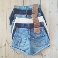 ALL SIZES Vintage Levis High Waisted Cuffed Denim Shorts Random Wash