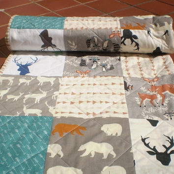 Baby quilt,Teal,grey,rust,brown,baby girl or boy bedding,woodland,rustic,organic,chevron,bears,deer,owls,fox,modern,Hello Bear and friends