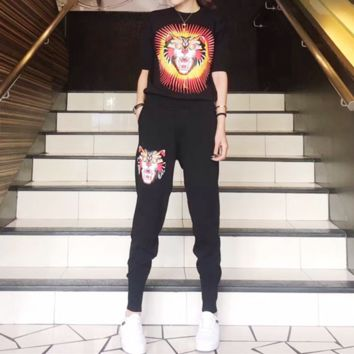 """Gucci"" Women Casual Fashion Knit Letter Tiger Head Pattern Middle Sleeve Trousers Set Two-Piece Sportswear"