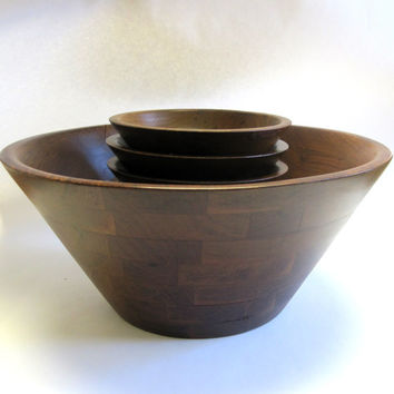 Huge Burl Walnut Wood Salad Bowl & Serving Dishes Large Set Of 7