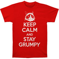 Grumpy Cat Men's  Stay Grumpy T-shirt Red Rockabilia