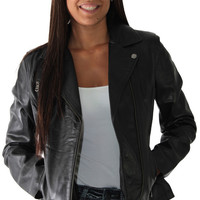 Andrew Marc Brianna Women's Motorcycle Leather Jacket Zip Coat