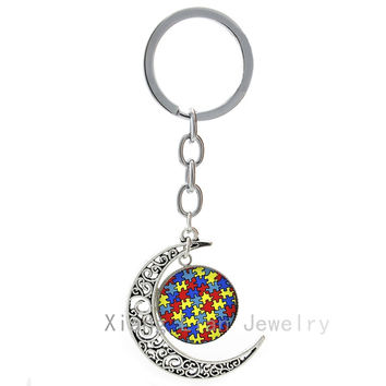 Autism Heart charms key chain  Autism Awareness Jigsaw Puzzle Pieces key ring