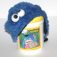Vintage 1980s Cookie Monster Cookie Jar, Sesame Street,  Antique Alchemy