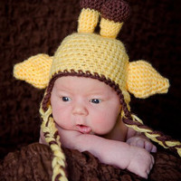Baby Giraffe Earflap Hat by ARoseMcBrady on Etsy