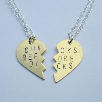 CHICKS BEFORE DICKS Necklaces, Hand Stamped Brass Broken Heart Friendship Necklaces