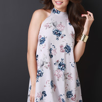 Floral Mock Neck Trapeze Dress