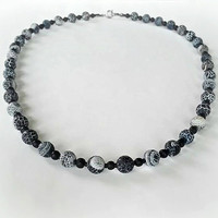 Beautiful Black Crackle Beaded Necklace