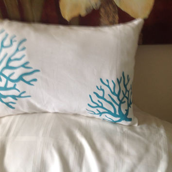 Two Coral True Turquoise/White Pillow