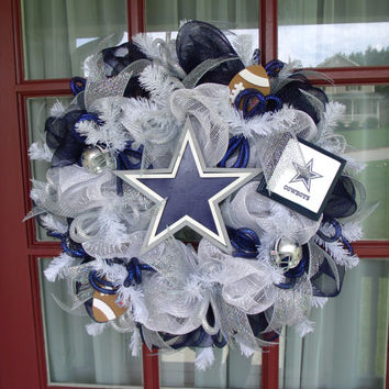 Dallas Cowboys NFL Football Fan Navy , Silver , And White Deco Mesh Wreath