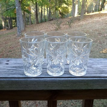Set of 6, 1960s Juice Glass Tumblers, Early American Prescut by Anchor Hocking, 3.75 Inches Tall, EAPC, Star of David, Vintage Glasses