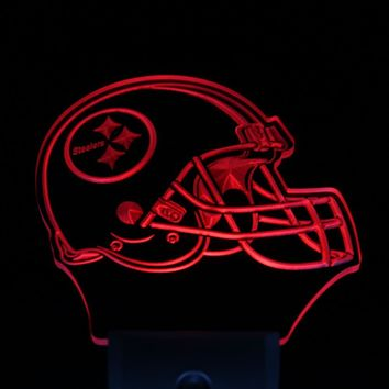 ws0099 Pittsburgh Steelers Helmet Bar Day/ Night Sensor Led Night Light Sign