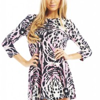 Pink Long Sleeve Tiger Print Swing Dress