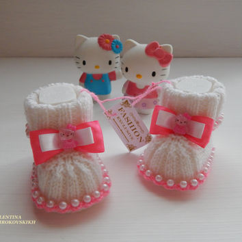 Beautiful knitted booties for new baby . Made to order