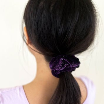 90s purple velvet glitter scrunchie, vtg hair tie accessory, 1990s accessories colorful, vintage glam, tumblr kawaii vaporwave aesthetic