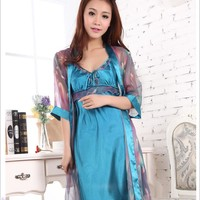 New Arrival Women Fashion And Sexy Soft Smooth 2 Piece Robe Gown Set Sleeping Dress