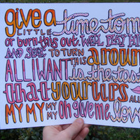 Give Me Love Lyric Drawing