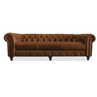 South Cone Home Hanover Tufted Leather Sofa