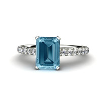 Aquamarine Engagement Ring Aquamarine Ring Diamond Accented 14K or 18K Gold March Birthstone Custom Bridal Jewelry