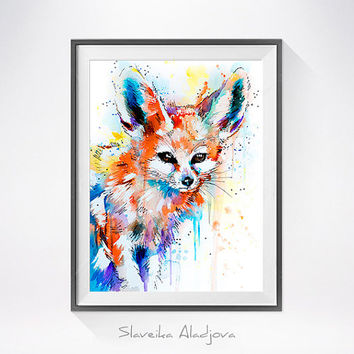 Fennec Fox watercolor painting print , animal art, animal watercolor, animals paintings, animal portrait, fox art, fox illustration,