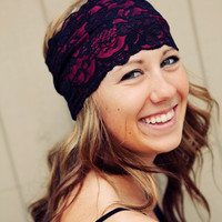 Hot Pink and Black Stretch Lace Headband