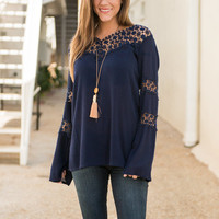 Flow To Love Blouse, Navy