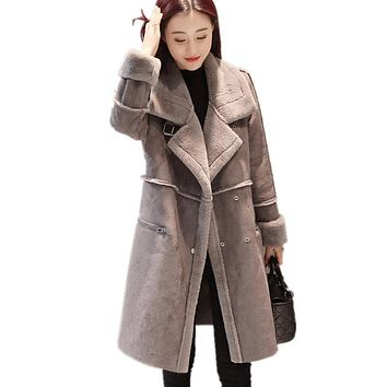 Winter New Korean Thickening Long Lamb Wool Jacket Deerskin Cotton Clothes Slim Warm Suede Women Solid Color Parkas MZ1870