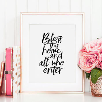 BLESS THIS HOME, Inspirational Quote, Home Decor,Home Wall Art,Home Sign,Typography Print,Bible verse,Scripture Art,Motivational Poster