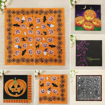 Mayitr 33*33cm Vintage Early Crepe Paper Napkin Black Cat Scarecrow Pumpkins Printed Paper TowelsHappy Halloween Party Supplies